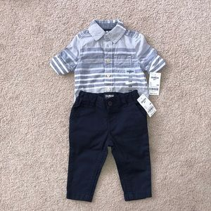 👕 Baby boys button up top and pants set 👖